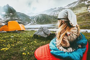Camping travel vacations woman relax
