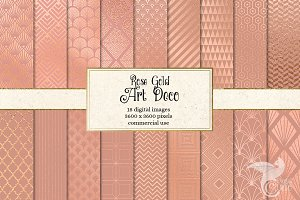 Rose Gold Art Deco Digital Paper