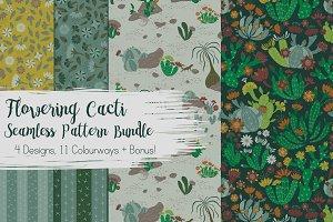 Seamless Pattern Bundle Cactus Cacti