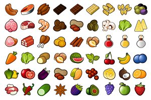 72 Food Icons Set