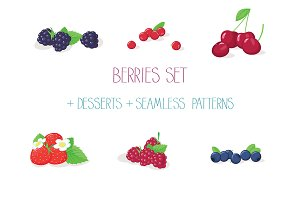 Berries set with desserts & patterns