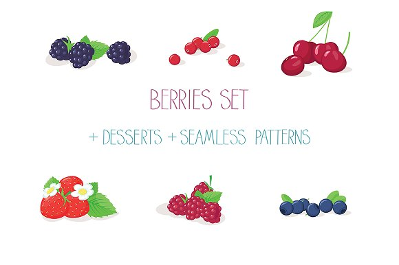 Berries Set With Desserts Patterns