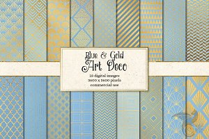 Blue and Gold Art Deco Digital Paper