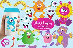 Cute Monsters Clipart AMB-552