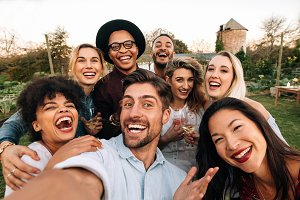 Friends making a selfie together