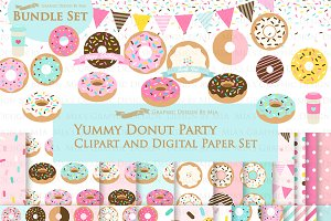 Yummy Donut Clipart+Pattern set