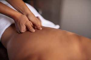 Woman getting massage spa