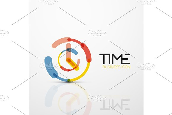 Vector Abstract Logo Idea Time Concept Or Clock Business Icon