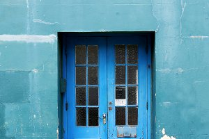 Blue Door Architecture Stock Photo