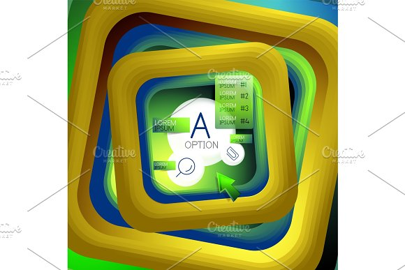 Rotating Swirl Square Background Color Rectangles With Stepping Blending Effect With Sample Infographics Or Slogan Business Presentation Template Vector Abstract Background