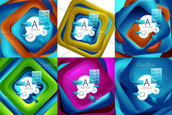 Set Of Rotating Swirl Square Backgrounds Color Rectangles With Stepping Blending Effect With Sample Infographics Or Slogan Business Presentation Templates