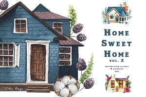 Watercolor Clipart - Houses Vol. 2