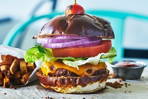 meatless vegan cheese burger