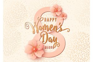 Happy womens day celebration background design with light pink flowers. 8 march