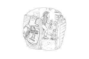 Cowboy Robbing Saloon Drawing