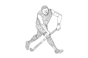 Field Hockey Player Doodle