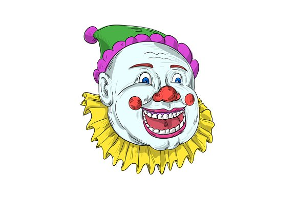 Vintage Circus Clown Smiling Drawing