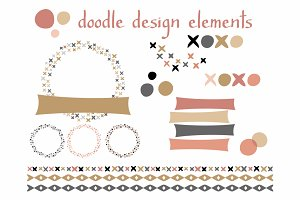 Doodle Design Elements  Blush & Gold