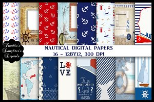 Nautical Scrapbook Digital Papers