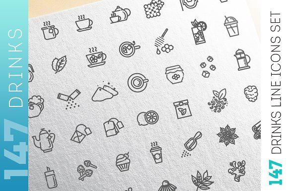 Flat Line Drinks Consepts Icons Set