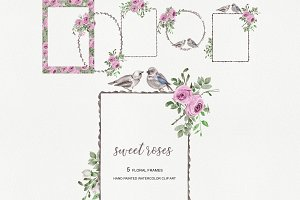 Watercolor Pink Rose Frame Set