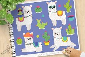 Llama and Cactus Clipart