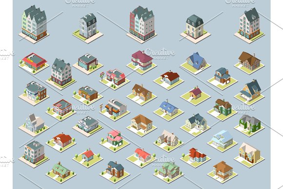 Vector Isometric Buildings Set Isolated On Blue Background
