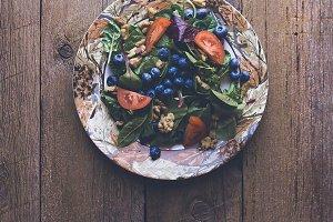 Summer Salad on Beautiful Wood Table