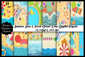 Summer Beach&Pool Aerial View Papers