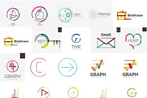 Business thin line logos