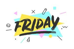 Friday. Banner, speech bubble