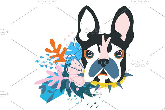 Abstract Papercut Collage Dog Head
