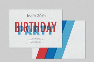 Red Blue Birthday Invitation