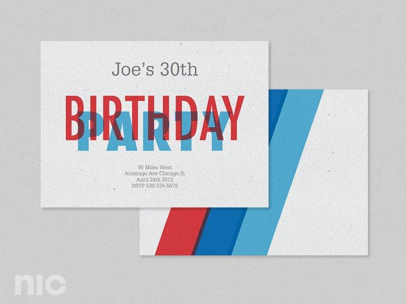Red Blue Birthday Invitation ~ Invitation Templates ~ Creative Market