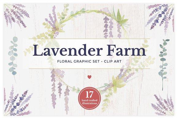 Lavender Farm Graphic Set - Clip Art