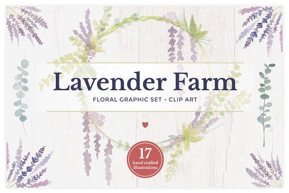 Lavender Farm Graphic Set - Clip Art in Illustrations