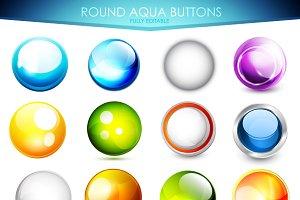 16 round aqua buttons