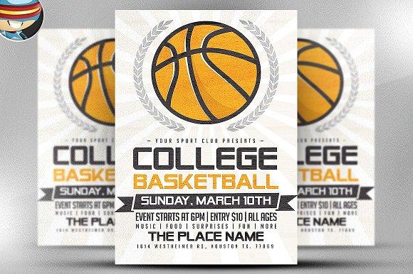 Illustrated Basketball Flyer Flyer Templates Creative Market