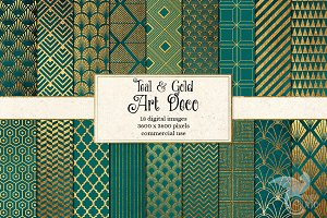 Teal and Gold Art Deco Digital Paper