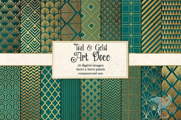 Teal And Gold Art Deco Digital Paper
