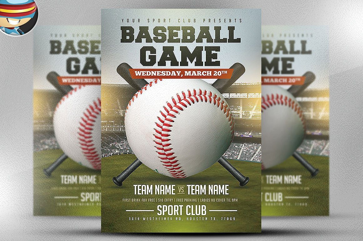 Baseball flyer template 2 flyer templates creative market for Baseball brochure template