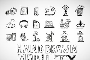 Hand-drawn mobility icons
