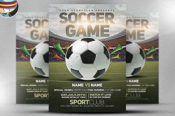 Soccer Game Flyer Template 2 Flyer Templates Creative Market