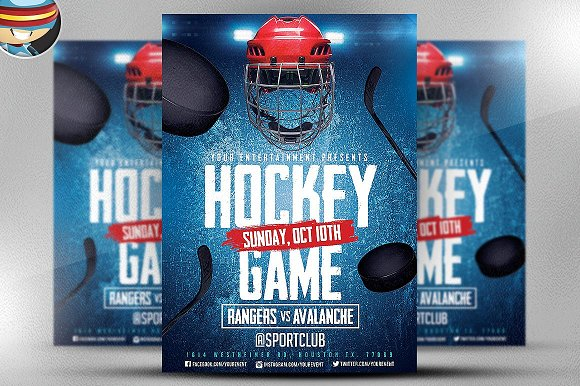 Ice hockey flyer template 2 flyer templates creative market maxwellsz