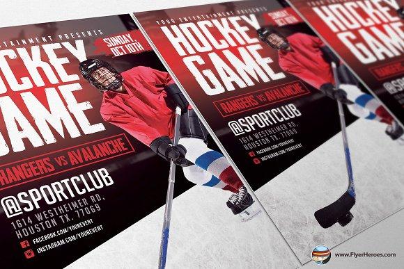 Hockey game flyer template flyer templates creative market maxwellsz