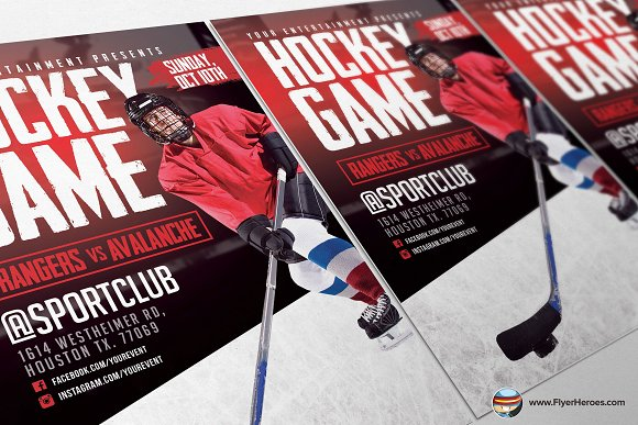 Hockey Game Flyer Template Flyer Templates Creative Market