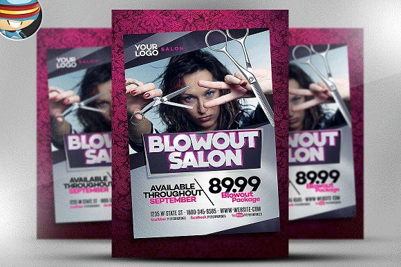 Blowout Hair Salon Flyer Template Flyer Templates Creative Market - Hair salon brochure templates