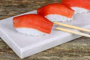 Fresh japanese salmon sushi on wood