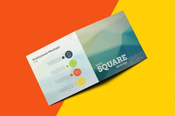 Square bi fold brochure mockups product mockups creative market reheart Gallery