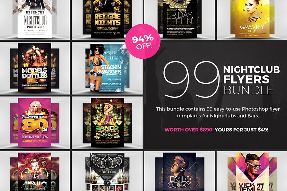 99 Nightclub Flyer Templates Bundle Flyer Templates Creative Market